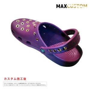 クロックス パンク カスタム 純金メッキ加工 紫 crocs custom クラシック(ケイマン) クロッグ サンダル 23cm(M5/W7)