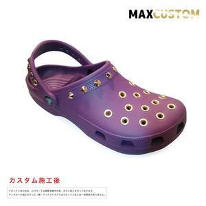 クロックス パンク カスタム 純金メッキ加工 紫 crocs custom クラシック(ケイマン) クロッグ サンダル 22cm(M4/W6)