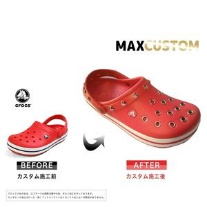クロックス クロックバンド パンク カスタム 赤 flame crocs custom crocband クロッグ サンダル 23cm(M5/W7)