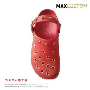 クロックス クロックバンド パンク カスタム 赤 flame 純金メッキ加工 crocs custom crocband クロッグ サンダル 22cm(M4/W6)