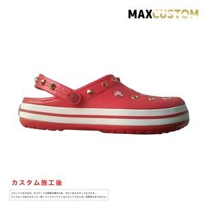 クロックス クロックバンド パンク カスタム 赤 flame 純金メッキ加工 crocs custom crocband クロッグ サンダル 23cm(M5/W7)