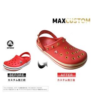 クロックス クロックバンド パンク カスタム 赤 flame 純金メッキ加工 crocs custom crocband クロッグ サンダル 24cm(M6/W8)