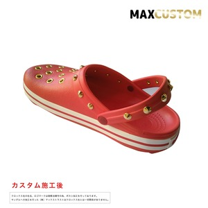 クロックス クロックバンド パンク カスタム 赤 flame 純金メッキ加工 crocs custom crocband クロッグ サンダル 26cm(M8/W10)
