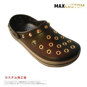 クロックス クロックバンド パンク カスタム 茶 espresso 純金メッキ加工 crocs custom crocband クロッグ サンダル 27cm(M9/W11)