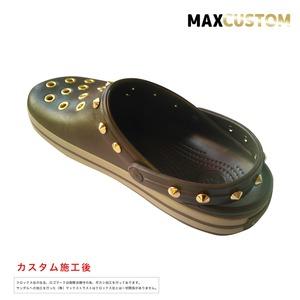 クロックス クロックバンド パンク カスタム 茶 espresso 純金メッキ加工 crocs custom crocband クロッグ サンダル 25cm(M7/W9)