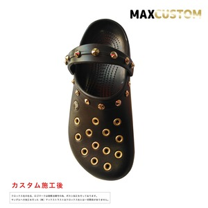 クロックス クロックバンド パンク カスタム 茶 espresso 純金メッキ加工 crocs custom crocband クロッグ サンダル 22cm(M4/W6)