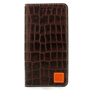 iPhone6 Plus/6s Plus ケース 手帳  本革 Wetherby・Premium Croco iPhone6 Plus iPhone6s Plus レザー 本革 (Dark Brown) - 拡大画像