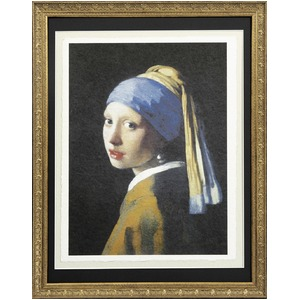 【世界の名画古銭額装】フェルメール「真珠の耳飾の少女」(複製画)(509×394mm)