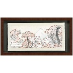 【世界の名画古銭額装】葛飾北斎「桜花に富士」(複製画)(250×500mm)