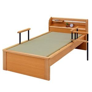 純国産 畳ベッド ダブル 「仁」 (ヘッドシェルフ×1個、手すり2本付き) い草たたみ 天然木 【日本製】 - 拡大画像
