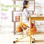 クッション付きプロポーションチェア/姿勢矯正椅子 【子供用 オレンジ】 木製(天然木) 座面高さ調整可/キャスター付き の画像