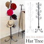 帽子ツリー(ポールハンガー/帽子掛け) スチール製 高さ170cm ホワイト 『Del Sol』