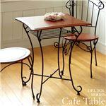棚付きカフェテーブル 【四角型】 幅60cm スチールフレーム/木製 アジャスター付き
