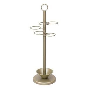 アンブレラスタンド(傘立て) スチール製 受け皿/取っ手付き シャンパンゴールド  - 拡大画像