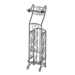 トイレラック/トイレットペーパーホルダー 【4ロール収納可】 幅20cm スチール製 スリム 『Del Sol』 ブラック(黒) 【完成品】