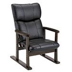 スーパーソフトレザー高座椅子/リクライニングチェア 【ブラック】 張地:合成皮革/合皮 肘付き ハイバック 日本製 『大河』