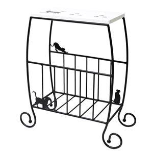 猫のサイドテーブル/ミニテーブル 【幅46cm】 スチールフレーム 収納棚付き 【完成品】