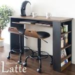 カウンターテーブル 高さ85cm 収納棚/足置き/二口コンセント付き ブラック(黒) の画像