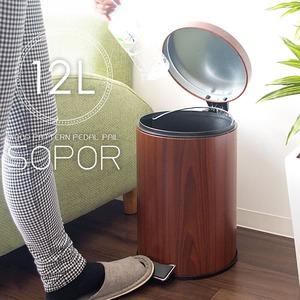 木目調ペダル式ペール/丸型フタ付きゴミ箱 【12L ブラウン】 取っ手付き 取り出せるペール