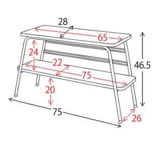 ヴィンテージ 古材風 サイドテーブル スチールフレーム