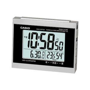 電波置き時計/目覚まし時計【温度・湿度計付き】ダブルアラーム・スヌーズ・LEDライト付き