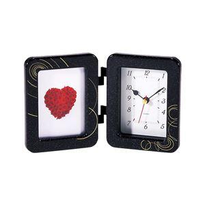 時計付きフォトフレーム/写真立て【ブラック】アナログ表示