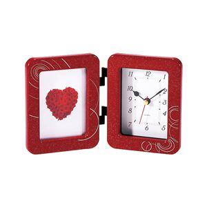 時計付きフォトフレーム/写真立て【朱レッド】アナログ表示
