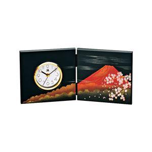 屏風時計/置き時計【富士さくら柄】アナログ化粧箱入り〔贈答品記念品プレゼント〕