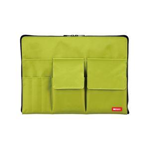 薄型 バッグインバッグ/収納ケース 【A4 イエローグリーン】 幅35cm×奥行1.7cm×高さ25.5cm