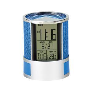 サークルペン立てクロック/置き時計【小物入れ付き】アラーム・タイマー・温度表示