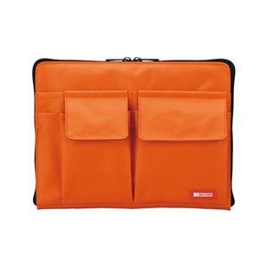 薄型 バッグインバッグ/収納ケース 【A5 オレンジ】 幅25cm×奥行1.7cm×高さ18cm