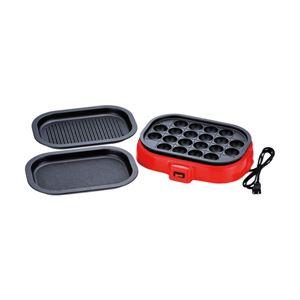 たこ焼きプレートセット/ホットプレート 【着脱式】 平プレート・波型プレート付き フッ素樹脂加工
