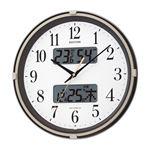 【RHYTHM】 アナログ時計/フィットウェーブリブ 【ブラウンメタリック】 多機能電波掛時計 カレンダー 六曜表示 温度 湿度