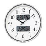 【RHYTHM】 アナログ時計/フィットウェーブリブ 【ホワイト】 多機能電波掛時計 カレンダー 六曜表示 温度 湿度