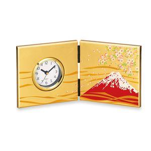 箔工芸大和屏風時計/置き時計【富士に桜】アナログ化粧箱入り〔贈答品記念品プレゼント〕