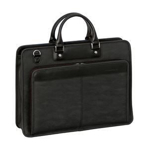 ブリーフケース/ビジネスバッグ【ブラック】合成皮革/合皮2本手A4ファイル収納可日本製