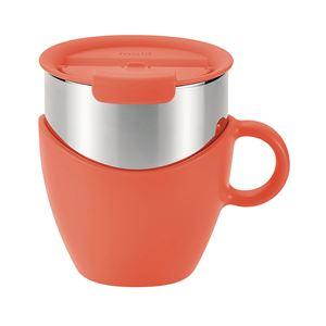 真空蓋付き マグカップ/保温カップ 【300ml オレンジ】 取っ手付き ステンレス真空断熱構造