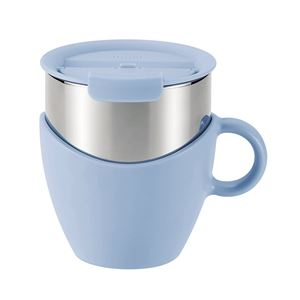 真空蓋付き マグカップ/保温カップ 【300ml ブルー】 取っ手付き ステンレス真空断熱構造