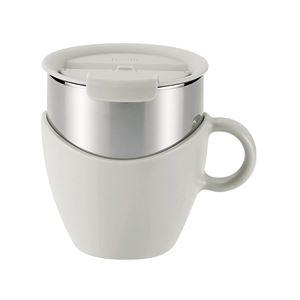 真空蓋付き マグカップ/保温カップ 【300ml ホワイト】 取っ手付き ステンレス真空断熱構造