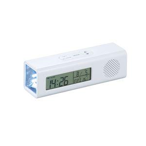 FMマルチステーション/FMラジオライト 【LED懐中ライト】 時計 アラーム カレンダー 温度計 バックライト