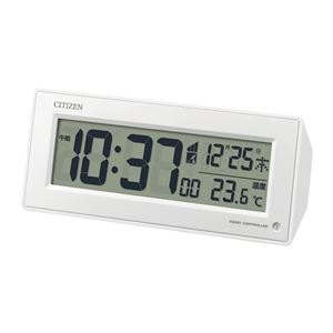 【CITIZENシチズン】電波デジタル時計【温度・湿度・カレンダー表示】暗所自動点灯機能残照機能ライト