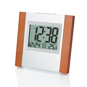 ウッド電波時計/置き時計【電波時計40/60kHz自動受信】アラーム・スヌーズ・温度表示・カレンダー表示