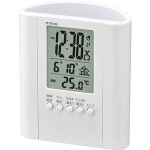 置き時計/目覚まし時計【ペンスタンド付き】電子音アラーム・スヌーズ・温度表示・カレンダー表示『プロフィット』