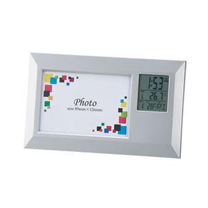 時計付き フォトフレーム/写真立て 【ワイド】 アラーム・カレンダー 写真サイズ:89×126mm 化粧箱入