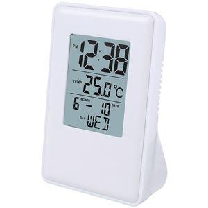 デジタルクロックトール/置き時計【マットホワイト】電子音アラーム・スヌーズ・温度表示・カレンダー表示