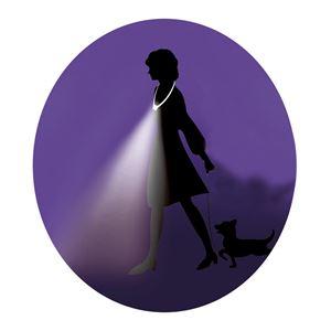 手ぶライト/LEDライト 【ホワイト】 LED2灯使用 ストラップ:2段階長さ調節可 〔ウォーキング ペットの散歩 夜間作業 夜釣り〕