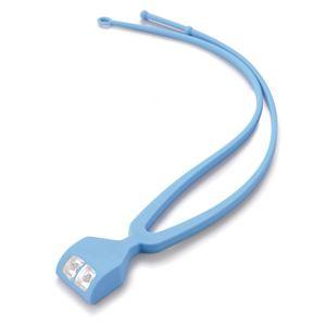 手ぶライト/LEDライト 【ブルー】 LED2灯使用 ストラップ:2段階長さ調節可 〔ウォーキング ペットの散歩 夜間作業 夜釣り〕