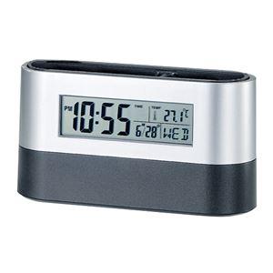 オーバルデスクスタンド/ペンスタンド【時計付き】アラーム・カレンダー・温度計・タイマー