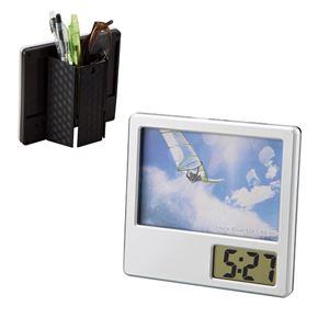 フォトクロックフレンド/フォトフレーム付き時計 【ペンスタンド付き】 壁掛け可 カレンダー