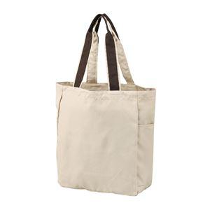 カジュアルトートバッグ/エコバッグ 【A4サイズ収納可】 両サイドポケット付き